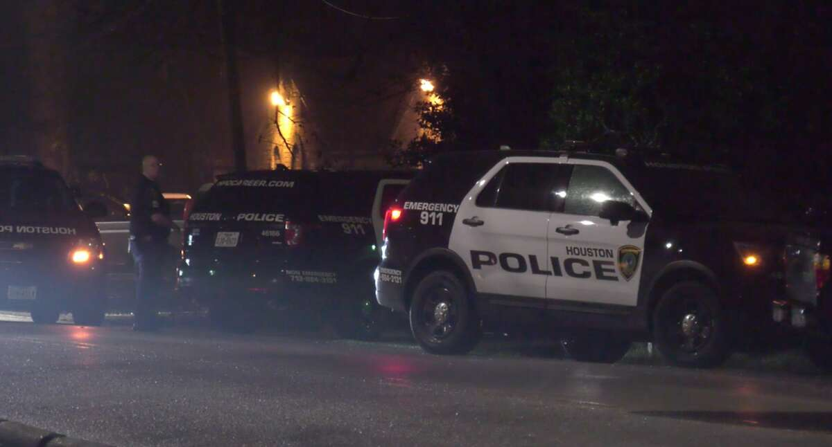 Houston police officers invesitgate a violent home invasion in the 10000 block of Neuens Road on Friday, Jan. 17, 2020.