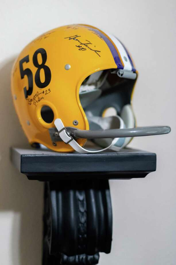 The replica helmet Jimmy Givens received for playing with the 1958 LSU Tigers national championship team. Photo made on Thursday, January 16, 2020. Fran Ruchalski/The Enterprise Photo: Fran Ruchalski/The Enterprise / 2019 The Beaumont Enterprise