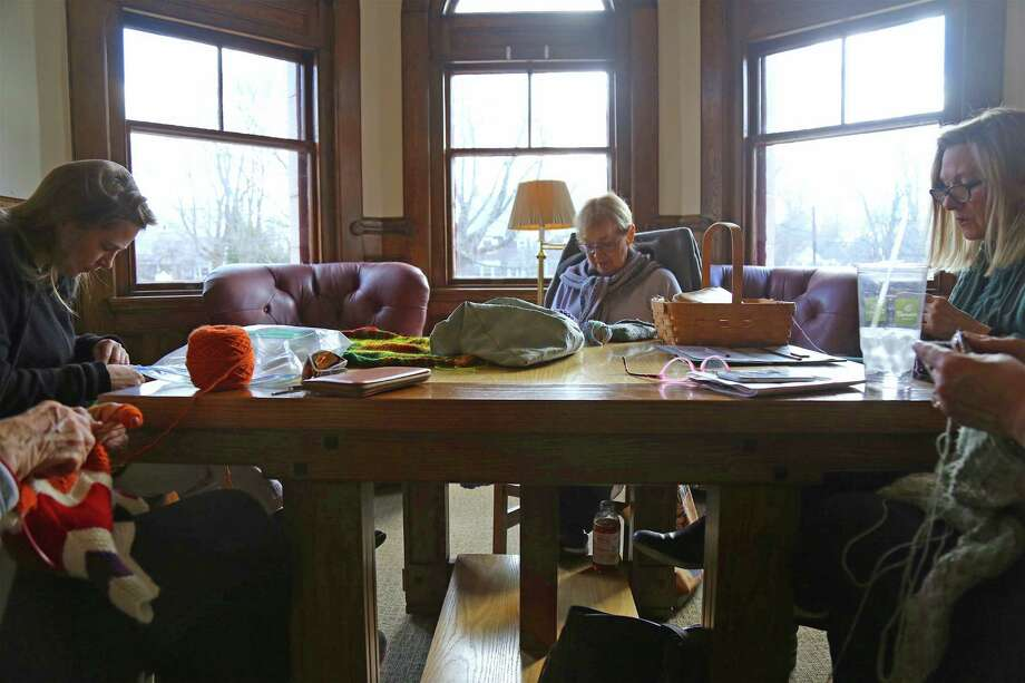 Environment lends itself to quiet creative work at the weekly session of the Pequot Purls at Pequot Library on Thursday, Jan. 16, 2020, in Fairfield, Conn. Photo: Jarret Liotta / Jarret Liotta / ©Jarret Liotta 2020