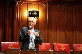 State Sen. Norm Needleman in June 2019 on the floor of the Connecticut General Assembly. Needleman is co-chair of the Energy and Technology Committee, which on Sept. 30 will present draft legislation to stiffen penalties on electric utilities if they fail to live up to expected levels of service.