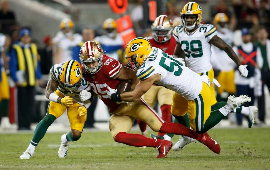 SANTA CLARA, CA - NOVEMBER 24: George Kittle #85 of the San Francisco 49ers runs after making a reception during the game against the Green Bay Packers at Levi's Stadium on November 24, 2019 in Santa Clara, California. The 49ers defeated the Packers 37-8. (Photo by Michael Zagaris/San Francisco 49ers/Getty Images) Photo: Getty Images / 2019 Michael Zagaris