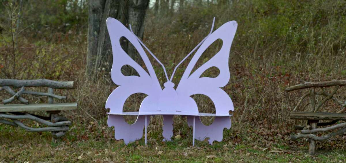 A butterfly bench at the Catherine Violet Hubbard Animal Sanctuary, in Newtown. Monday, November 11, 2019, Newtown, Conn.