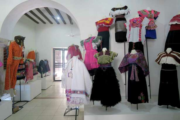 Garments on display at the Museo de Ropa Etnica de Mexico. The clothing encapsulates three definitions of ethnic - traditional, indigenous and contemporary - in galleries arranged by region.