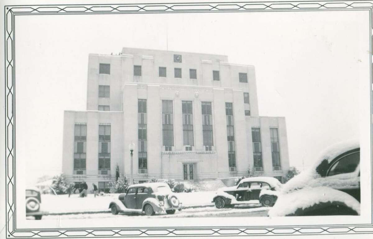 A rare snow blanketed Conroe in January 1940. Here the Montgomery County Courthouse is covered in snow. courtesy Montgomery County Historical Commission