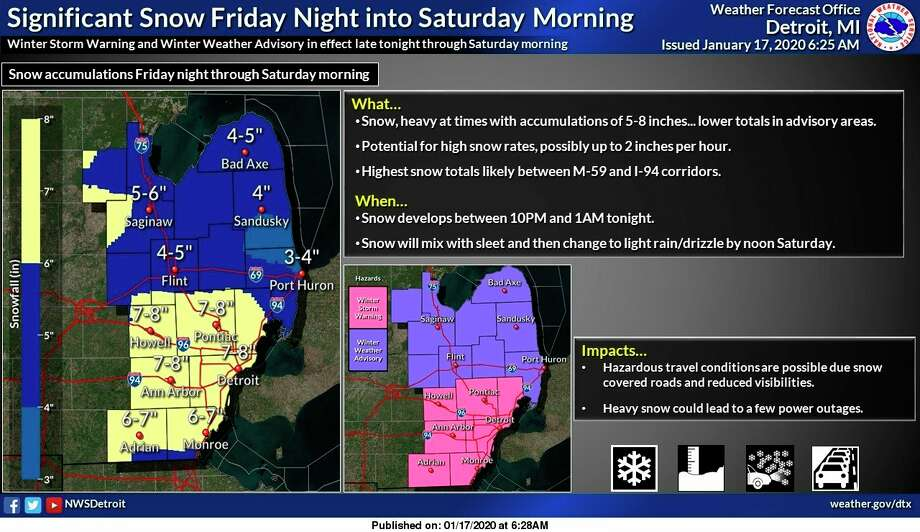 Agraphic from the National Weather Service in Detroit shows potential snowfall totals expected Saturday. (National Weather Service/Courtesy)