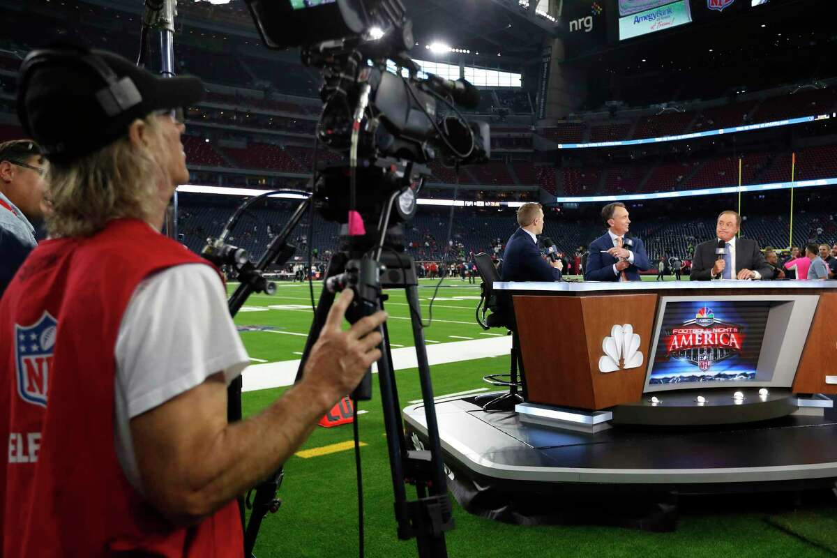 """An October 2018 broadcast of NBC's """"Football Night in America"""" in Houston. With Comcast launching this year its new Peacock streaming service featuring NBCUnversal content, the conglomerate did not state immediately its plans for adding Sunday Night Football to Peacock."""