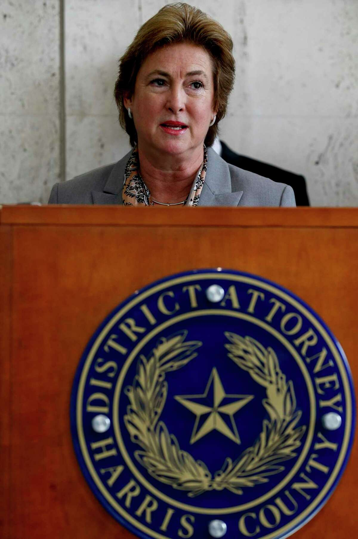 Harris County District Attorney Kim Ogg, shown in this January 2020 photo, is being criticized for an email sent from her office that encouraged her prosecutors to attend a voter registration drive - where she would be present - while referencing participation to their performance evaluations.