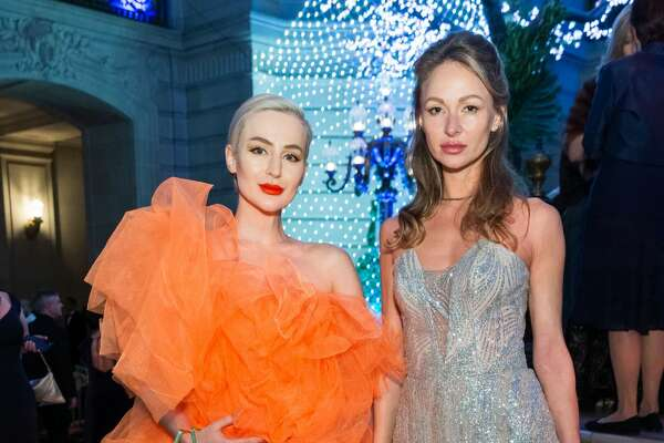 Katarzyna Mlyniuk and Anna Tuvhlova attendthe San Francisco Ballet's Opening Night Gala 2020 on January 16, 2020 at War Memorial in San Francisco.