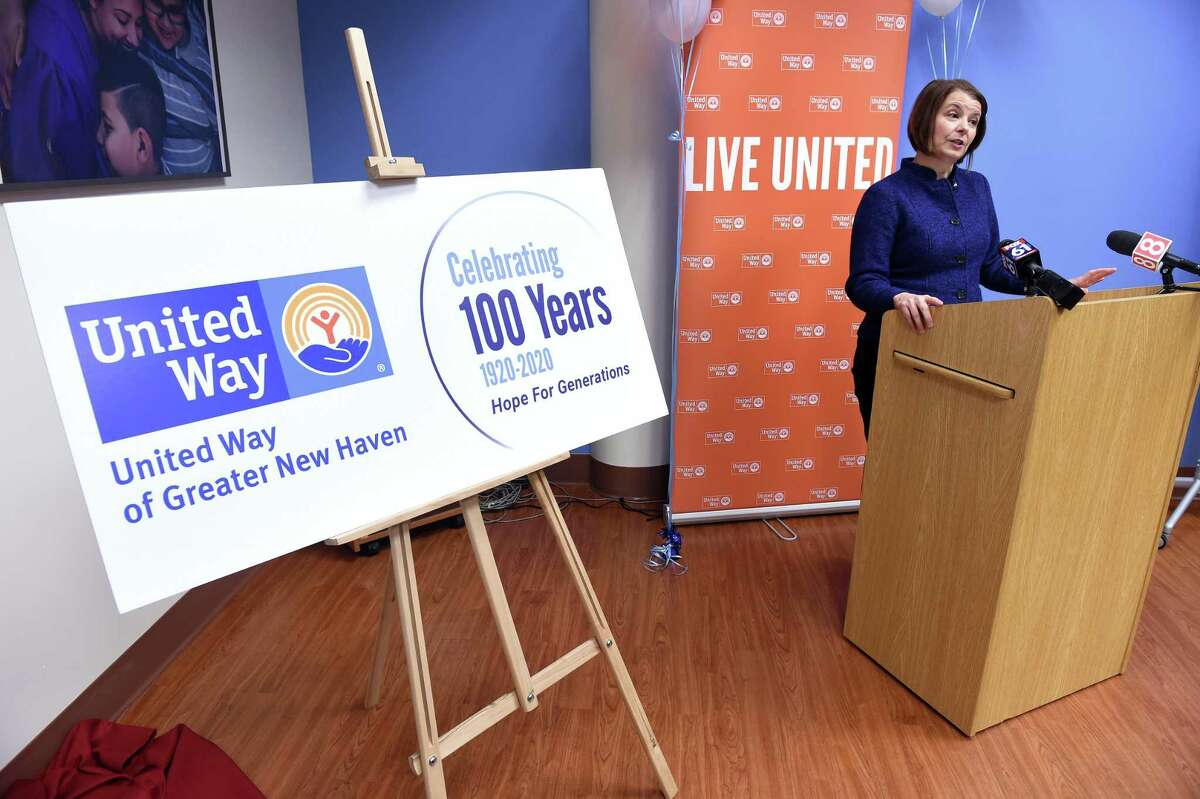 In this file photo, Jennifer Heath, the United Way of Greater New Haven President and CEO, kicks off the 100th anniversary year for the organization at organization's office in New Haven in January 2020.