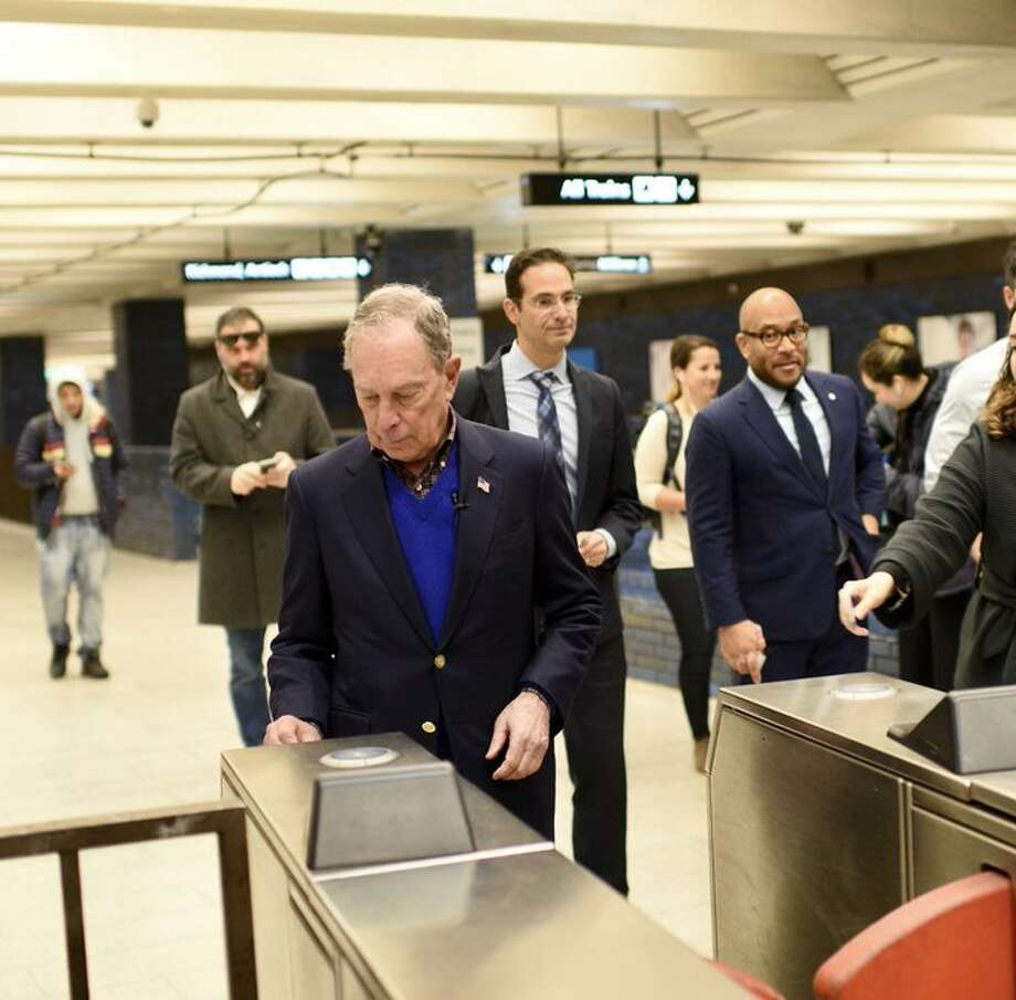 Michael Bloomberg rides BART on Friday, January 17, 2020. Photo: Michael Bloomberg Campaign