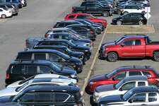 Cars are parked in one of the Albany-Rensselaer Amtrak Station outdoor lots on Friday, Jan. 17, 2020, in Rensselaer, N.Y. CDTA is raising the daily and weekly parking rates at the station by about 15 percent daily and 40 percent weekly. (Will Waldron/Times Union)