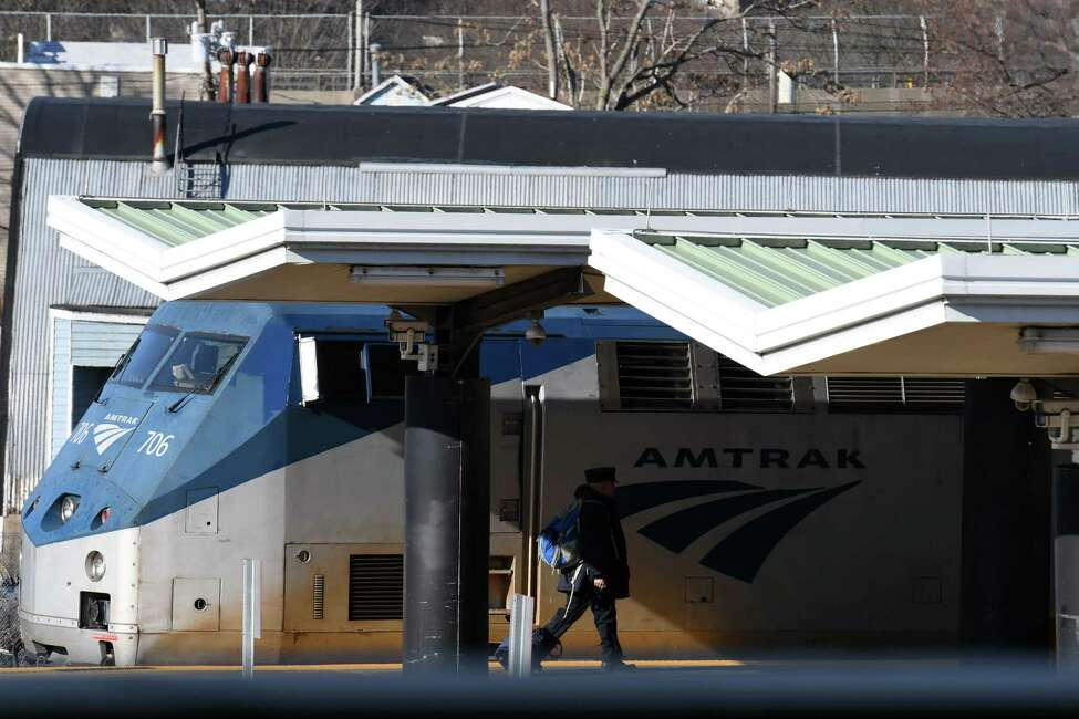 A New York City bound Amtrak train sits at the Albany-Rensselaer Station before departure on Friday, Jan. 17, 2020, in Rensselaer, N.Y. (Will Waldron/Times Union)
