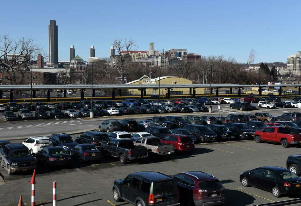 View of outdoor parking spaces at the Albany-Rensselaer Amtrak Station on Friday, Jan. 17, 2020, in Rensselaer, N.Y. CDTA is raising the daily and weekly parking rates at the station by about 15 percent daily and 40 percent weekly. (Will Waldron/Times Union)