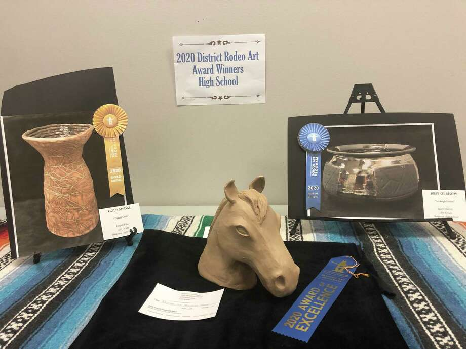 A sampling of the rodeo art that was made by Huffman ISD students that was on display for the 2020 Huffman ISD Rodeo Art Show at Huffman Elementary School Photo: Elliott Lapin / Staff Photo
