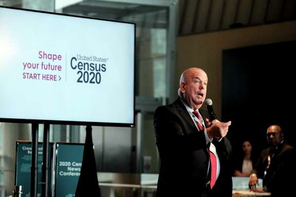 U.S. Census Bureau Associate Director of Field Operation Tim Olson speaks at an event to unveil the national advertising and outreach campaign for the 2020 Census, at the Arena Stage, Tuesday, Jan. 14, 2020, in Washington. (AP Photo/Michael A. McCoy)