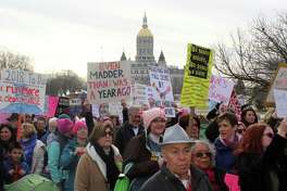 Marchers walked to the capitol in Hartford on Jan. 20, 2018 for Women's March Connecticut.