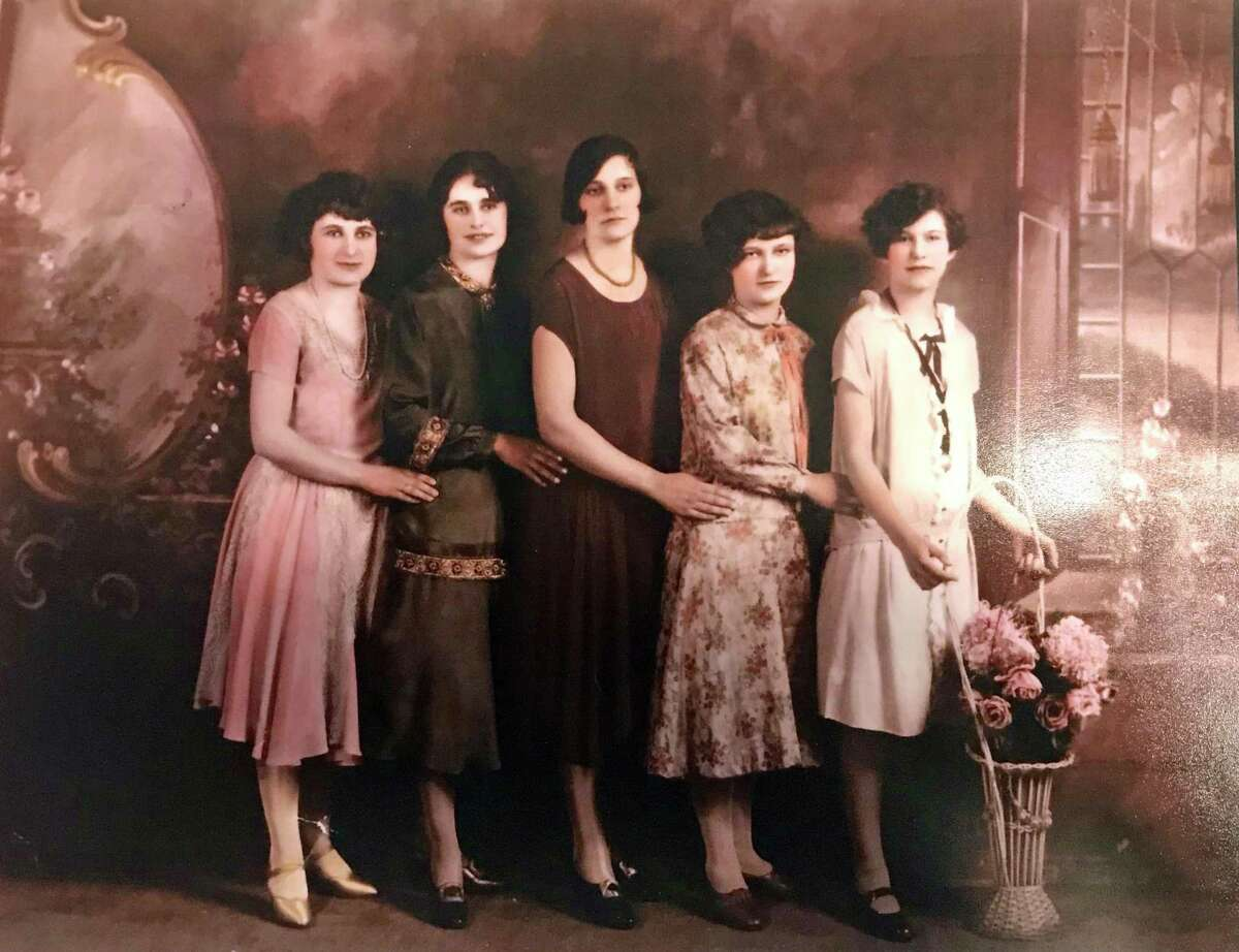 Agnes Lowe, second from left, with her four sisters in Torrington, in 1928. The five had been separated from each other after they were orphaned. They reunited in their 20s.