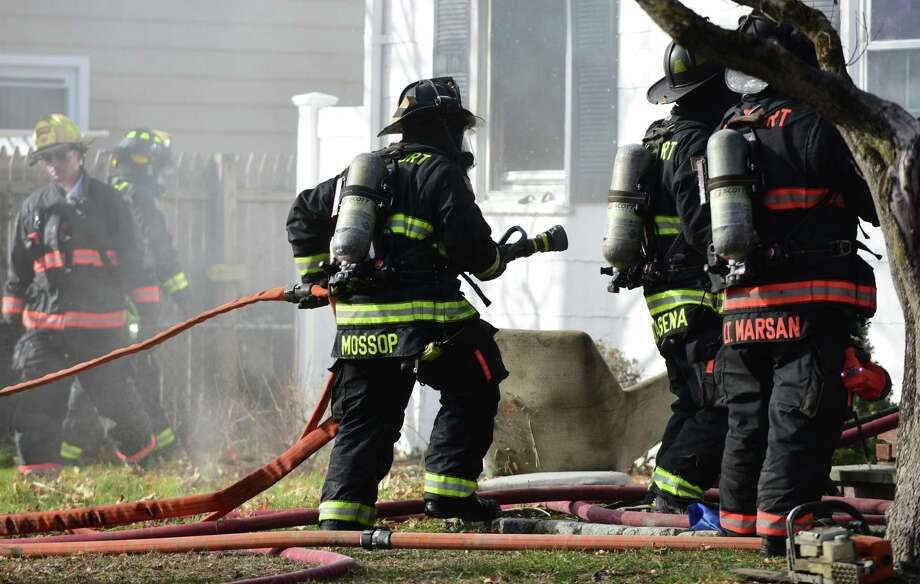 Westport, Norwalk, and Fairfield firefighters battle a blaze Friday, January 17, 2019, on Vani Court in Westport, Conn. The home was unoccupied at the time of the fire. Photo: Erik Trautmann / Hearst Connecticut Media / Norwalk Hour