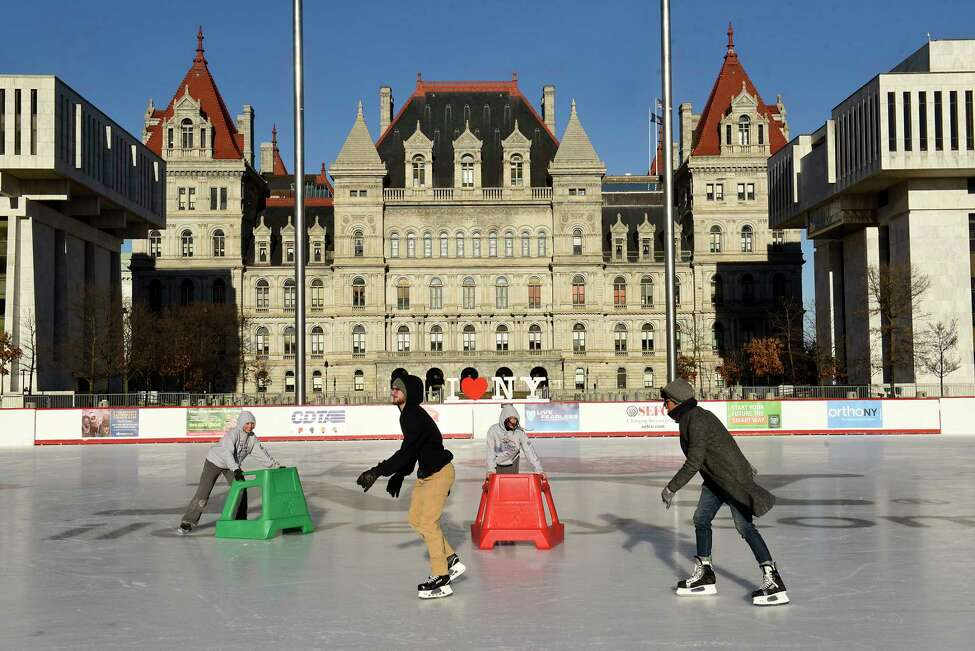 Skaters brave the cold to have some fun on the Empire State Plaza ice rink on Friday, Jan. 17, 2020 in Albany, N.Y. (Lori Van Buren/Times Union)