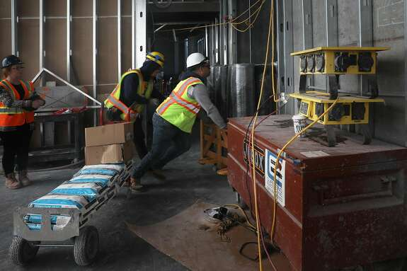 Construction work being done on lobby floor of 1500 Mission St. on Tuesday, Nov. 19, 2019, in San Francisco, Calif.