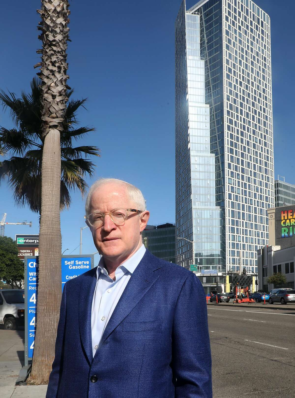 Chairman and chief executive officer Bill Witte of Related California shows his newest project at 1500 Mission St. (tower behind him) on Tuesday, Nov. 19, 2019, in San Francisco, Calif.