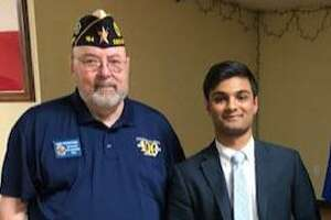 Winner of American Legion District 22's 2020 American Legion Oratorical Contest is Rehan Rupawalla of Obra D. Tompkins High School. District Vice Commander Harry Woodstrom, left, is chair of the Oratorical Committee for Katy American Legion Post 164.