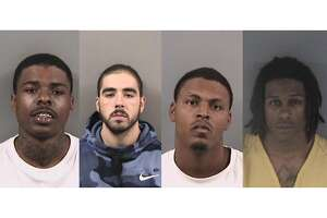 From left to right: Brad Williams Jr., Mitchell Monroe, Marlon Johnson, and Jordan James. Berkeley Police the four Contra Costa County gang members for assaulting a UC Berkeley student inside Abe's Pizza at 2340 Telegraph Ave. in October 2019. The four men have been charged with felony assault and are expected to appear in court this week.