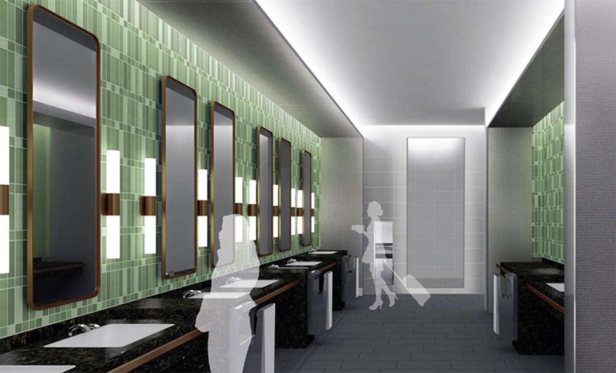 Rendering of improved women's restroom at SFO's international terminal.