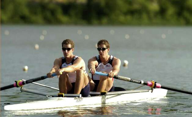 Twin brothers Cameron and Tyler Winklevoss, Greenwich natives, at rowing practice for the 2008 Summer Olympics. Photo: File Photo / Greenwich Time File Photo