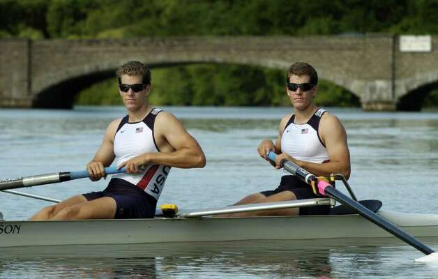 Twin brothers Cameron and Tyler Winklevoss at rowing practice for the 2008 Summer Olympics. Photo: File Photo / Greenwich Time File Photo