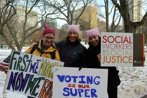 Westport residents Nicole Klein and Lauren Soloff, both newly-elected RTM members, pose with fellow Westport resident and Democratic Committee Member Wendy Epstein before marching in Women's March Connecticut in Hartford on Jan. 20, 2018.