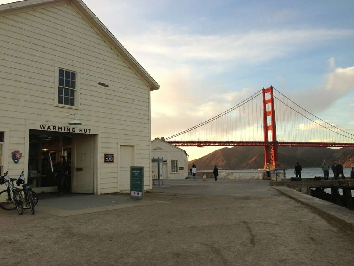 The Warming Hut sits directly on the Crissy Field waterfront path.