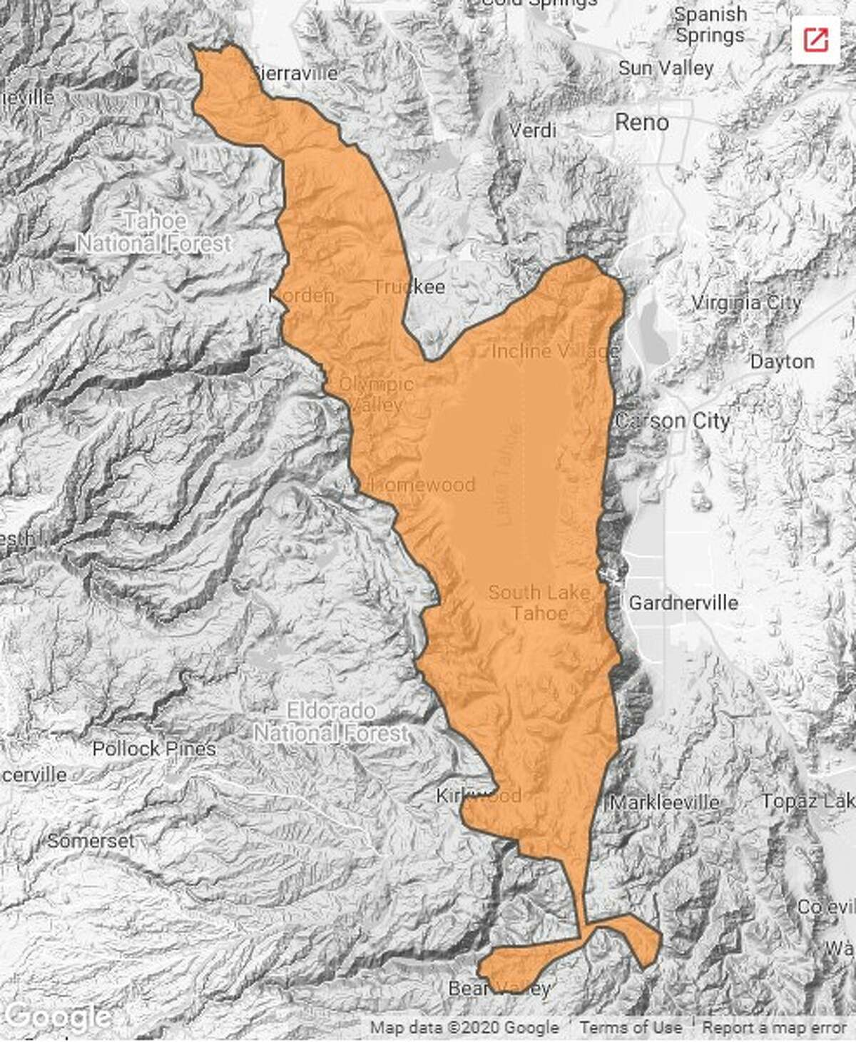 A map from the Sierra Avalanche Center shows the avalanche danger in the Tahoe area for Friday, Jan. 17, 2020.