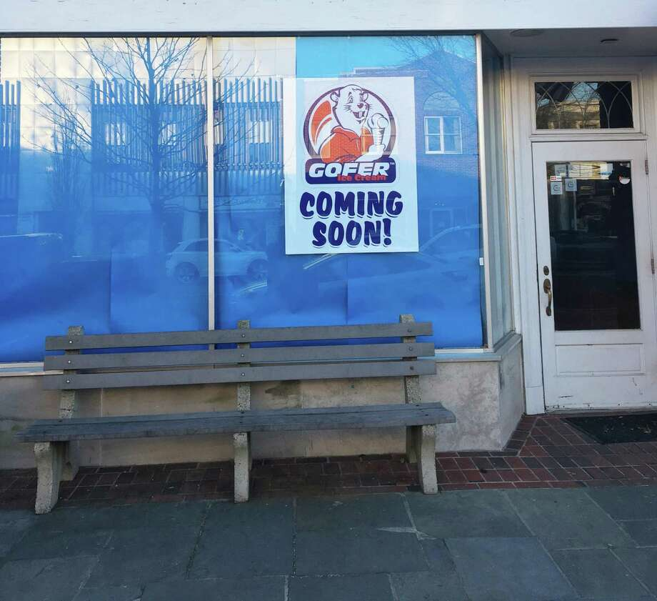 Gofer Ice Cream is coming to 103 Main St., in New Canaan where the Baskin Robbins used to be. The poster showed up Friday, Jan. 17, 2020. Photo: Jordan Savitt / Contributed Photo