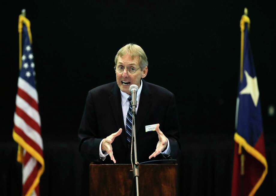 Glenn Slater, head administrator at Covenant Christian School, speaks during a press event awarding a $3 million FEMA grant to Covenant Christian School to help build a hurricane safe room on campus, Friday, Jan. 17, 2020, in Conroe. The funds, given through the Hazard Mitigation Grant Program, will help the school offset the cost of the $4.5 million structure. Montgomery County emergency management officials will use the monolithic concrete dome gymnasium as a base of operations and secure shelter for first responders and other emergency personnel. Photo: Jason Fochtman, Houston Chronicle / Staff Photographer / Houston Chronicle © 2020