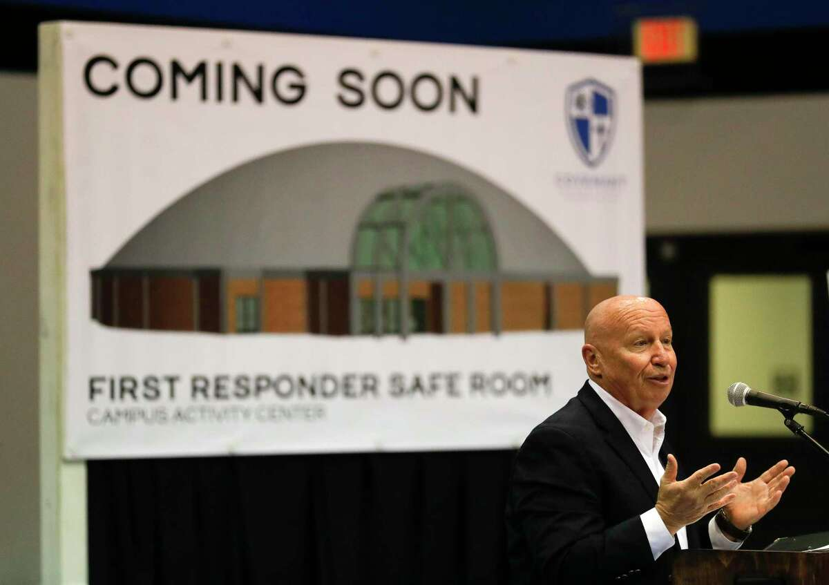 Congressman Kevin Brady (R-The Woodlands) speaks during a press event awarding a $3 million FEMA grant to Covenant Christian School to help build a hurricane safe room on campus, Friday, Jan. 17, 2020, in Conroe. The funds, given through the Hazard Mitigation Grant Program, will help the school offset the cost of the $4.5 million structure. Montgomery County emergency management officials will use the monolithic concrete dome gymnasium as a base of operations and secure shelter for first responders and other emergency personnel.