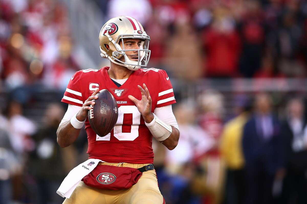 Jimmy Garoppolo #10 of the San Francisco 49ers attempts a pass against the Minnesota Vikings during the NFC Divisional Round Playoff game at Levi's Stadium on January 11, 2020 in Santa Clara, California. (Photo by Ezra Shaw/Getty Images)