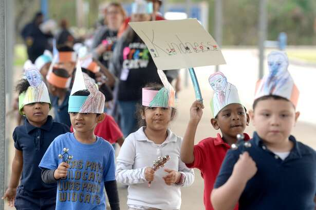 Lucas Pre-K students and staff celebrated Martin Luther King, Jr., and his legacy of peace, civil rights and freedom with an assembly and parade at the school Friday. Photo taken Friday, Jan. 17, 2020 Kim Brent/The Enterprise