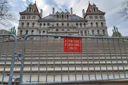 The grand staircase at the east side of the Capitol has been closed to visitors for years because the state has deemed them unsafe. When will they reopen? That isn't clear. (Chris Churchill / Times Union)