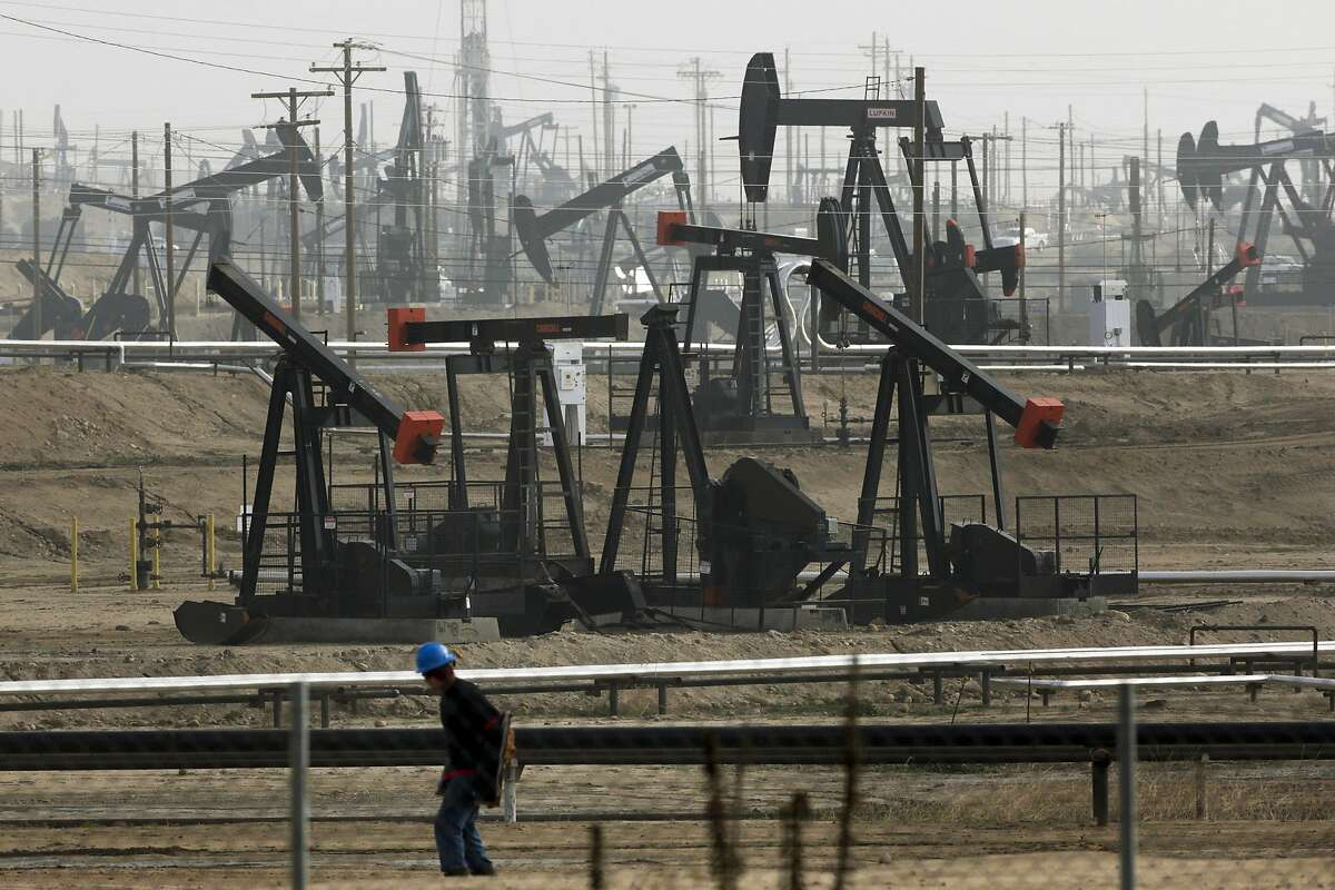 This Jan. 16, 2015, file photo shows pumpjacks operating at the Kern River Oil Field, in Bakersfield, Calif. The federal government wants to reopen over 1.7 million acres (690,000 hectacres) in California to oil and gas drilling that includes fracking on land that has been off-limits since environmentalists sued in 2013. The Bureau of Land Management issued final plans Thursday, May 9, 2019, for oil and gas leases on 800,000 acres (324,000 hectacres) of federal land mainly between the Central Coast and Central Valley.