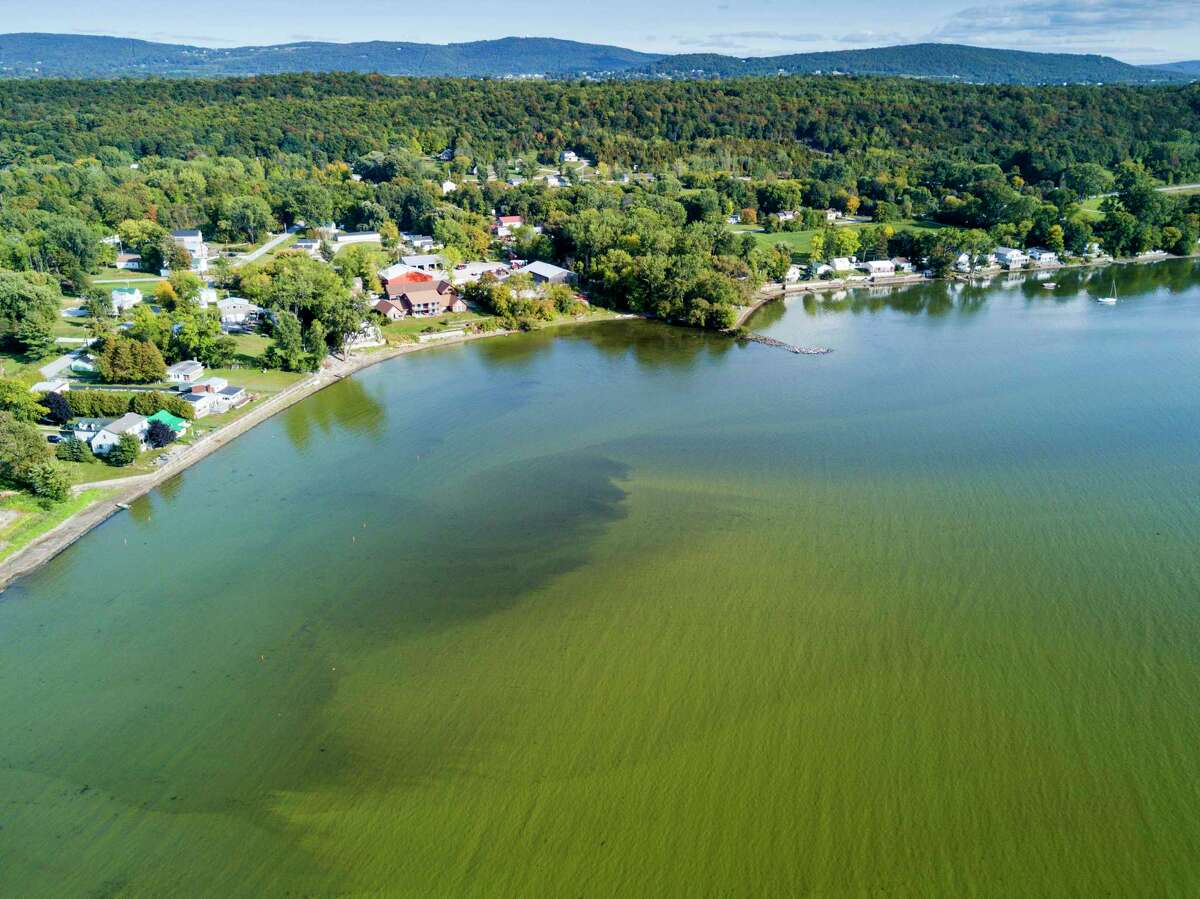 Aerial view of algae bloom on Lake Champlain, 2017, St. Albans Bay, St. Albans, Vermont. (Corey Hendrickson/Getty Images)