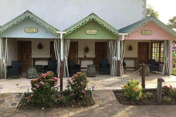 Cabanas, poolside, at Bequia Beach Hotel
