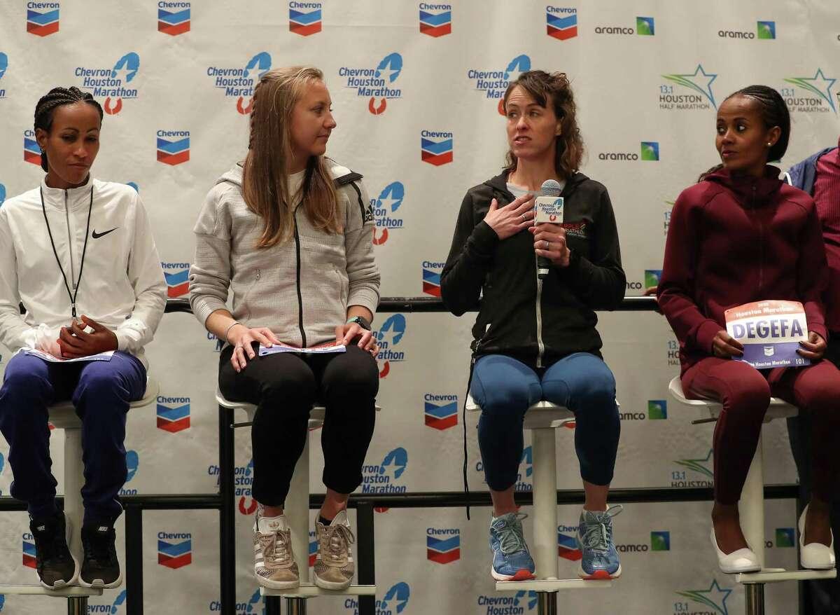 Askale Merachi (left-right), Neely Spence Gray, Malindi Elmore and Biruktayit Eshetu Degefa will be running in the 2020 Chevron Houston Marathon Friday, Jan. 17, 2020, in Houston.