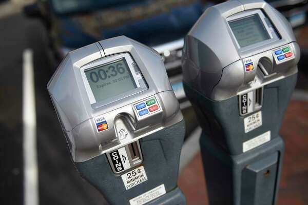 Credit card-accepting parking meters at Columbus Park in Stamford, Conn. Thursday, Jan. 17, 2019.