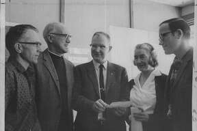 New York agriculturists at Fruit Tree Growers School - Donald L. Buhrmaster, Schenectady County, Alton Knight, Saratoga County, Mel Wrisley, Saratoga County Agent, Mrs. Patricia Chociej, Montgomery County, and Peter Ten Eyck, Albany, County. January 18, 1970 (Roberta Smith/Times Union Archive)