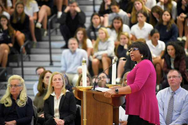 Guest speaker Angela Lewis addresses the students, facultyand guests during an all-school prayer service to remember Reverend Dr. Martin Luther King at the school Sacred Heart Greenwich in Greenwich, Conn. on Jan. 17, 2020.