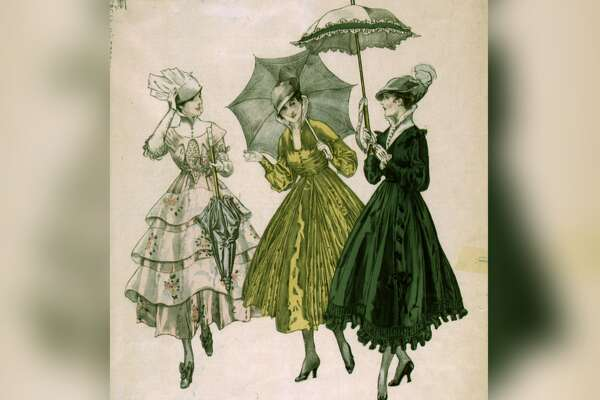 Edwardian dresses At the beginning of the century, women's fashion was very romantic and feminine, and, most importantly, modest. Think garden party-chic gowns designed with puffy sleeves and ladylike silhouettes, in fabrics such as cotton, chiffon, and lace. Hemlines covered the ankle and stiff, high-boned collars the neck. A parasol accessory completed the look. This slideshow was first published on theStacker.com