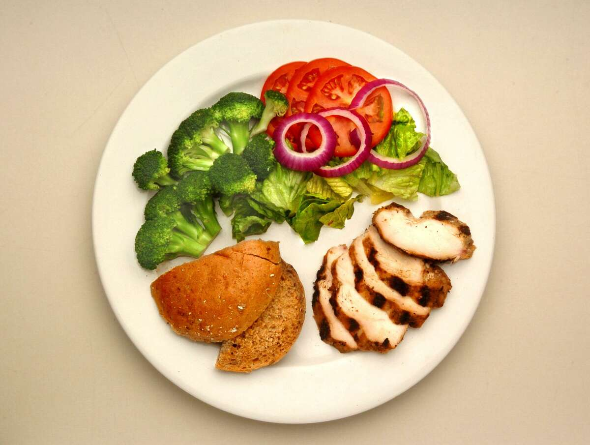On the MyPlate Plan, a balanced plate of food to promote healthy metabolism should contain one quadrant filled with a protein, one quadrant with a fistful of whole grains, and the other half should contain vegetables.