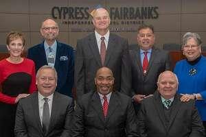 The 2019-2020 Cy-Fair ISD Board of Trustees: Tom Jackson, Julie Hinaman, Gilbert Sarabia, Debbie Blackshear, Don Ryan, John Ogletree, Bob Covey and Superintendent Mark Henry.