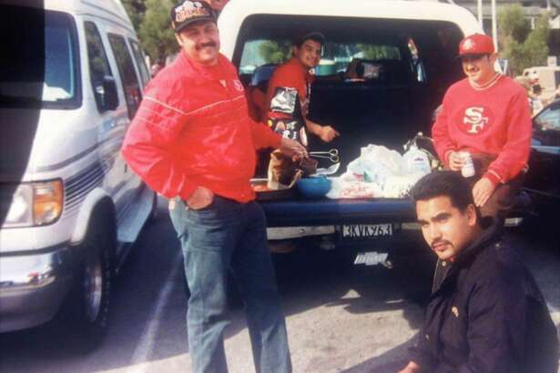 """""""Candlestick Park"""" started trending on Twitter on the Friday before the NFC Championship between the 49ers and Packers, and fans obviously got very nostalgic, including Priscilla Gomez, who paid tribute to her uncle, Armando Frias (red cap), who passed away this week."""